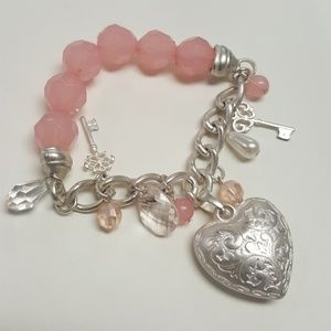 no brand Jewelry - Pinky Puffy Heart Charm Bracelet